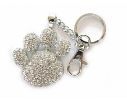 Paw Print With Clear Crystals Key Chain