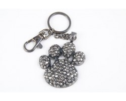 Paw Print With Hematite Crystals Key Chain