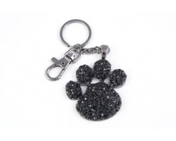 Paw Print With Jet Crystals Key Chain