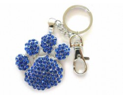 Paw Print With Sapphire Crystals Key Chain