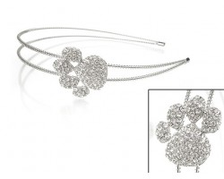 Clear Crystal Paw Print Silver Coil Wire Headband