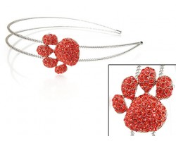 Orange Crystal Paw Print Silver Coil Wire Headband