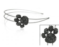 Black Crystal Paw Print Silver Coil Wire Headband