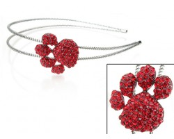Red Crystal Paw Print Silver Coil Wire Headband
