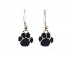 Black Enamel Mini Paw Print Hook Earrings