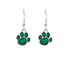 Green Enamel Mini Paw Print Hook Earrings
