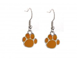 Orange Enamel Mini Paw Print Hook Earrings