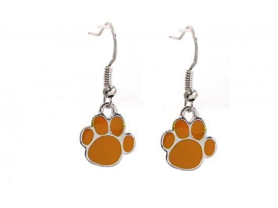 Orange Enamel Mini Paw Print Hook Earrings