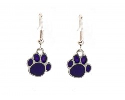Purple Enamel Mini Paw Print Hook Earrings