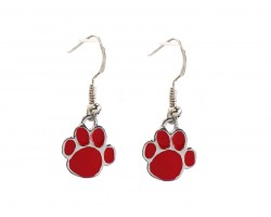 Red Enamel Mini Paw Print Hook Earrings