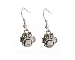 Silver Enamel Mini Paw Print Hook Earrings