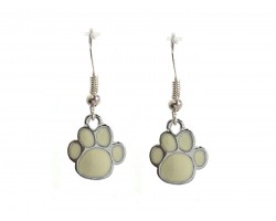 White Enamel Mini Paw Print Hook Earrings