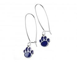 Blue Enamel Mini Paw Print Hook Earrings