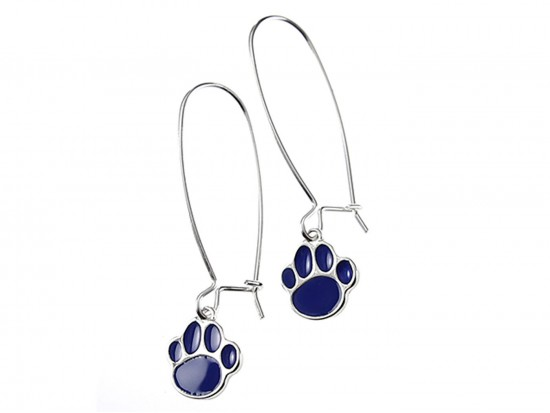Blue Enamel Mini Paw Print Hook Earrings
