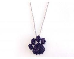 Purple Large Paw Print Pendant Chain Necklace