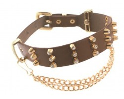 Brown Leather Gold Plate with Crystal Stud & Chain Buckle Boot Jewelry