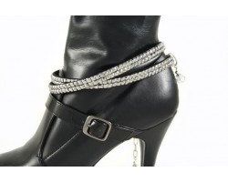 Metallic Silver Crystals Flat Wrap Shoe Boot Jewelry