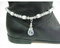 Pearl White Clear Crystal Shoe Boot Jewelry