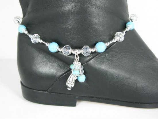 Turquoise Silver 3 Drop Shoe Boot Jewelry