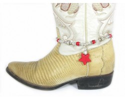 Red Stone Star Charm Shoe Boot Jewelry