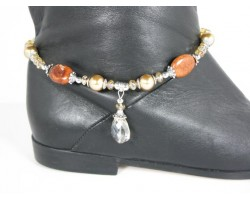 Gold Pearl Brown Stone Crystal Show Boot Jewelry