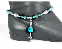 Turquoise Silver Cross Charm Cube Shoe Boot Jewelry