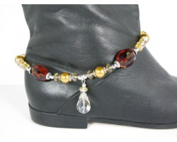 Gold Pearl Smoke Topaz Crystal Boot Shoe Jewelry