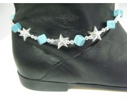 Turquoise Cube Stone Silver Shoe Boot Jewelry with Stars