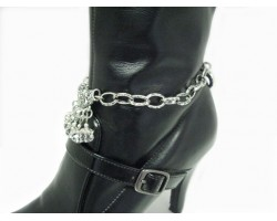 Silver Plate Floral Cut Out Crystal Charm Chain Boot Jewelry