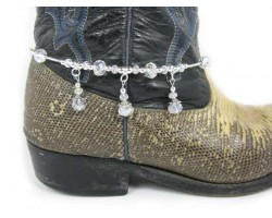 Clear Crystal Rondel Charm Shoe Boot Jewelry