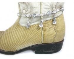 Metallic Crystal Rondelle Charm Shoe Boot Jewelry