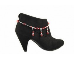 Red Crystal Rondelle Charm Shoe Boot Jewelry