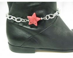 Hot Pink Stone Star Chain Shoe Boot Jewelry