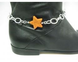Orange Stone Star Chain Shoe Boot Jewelry