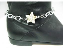 White Stone Star Chain Shoe Boot Jewelry
