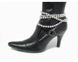 Clear Crystal Silver Multi Layer Shoe Boot Jewelry