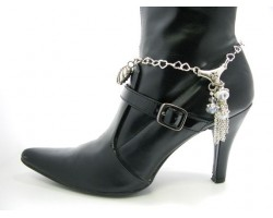 "Silver Plate Heart Chain Boot Shoe Jewelry W/ Tassel ""V"""