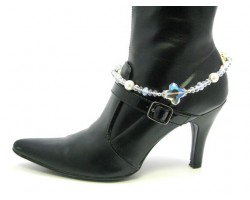 Clear AB Crystal Cross Pearl Shoe Boot Jewelry