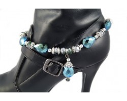 Teal AB Crystal 5 Teardrops Crystal Chain Shoe Boot Jewelry