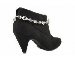 Black Diamond Chinese Crystal Teardrops Chain Shoe Boot Jewelry