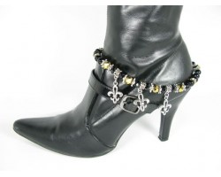 Two Tone Black With Silver Fleur De Lis Saints Shoe Boot Jewelry