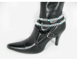 Turqoise And Clear Faceted Crystal Double Wrap Shoe Boot Jewelry