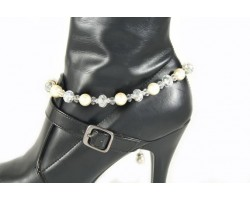 Pearl Clear AB Crystal Chain Oval Etched Shoe Boot Jewelry