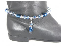 Blue Crystal Teardrop Blue Pearl Boot Shoe Jewelry
