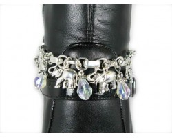 Silver Plate Elephant Charms & Clear AB Crystal Shoe/Boot Jewelry