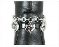 Antique Silver Filigree Hearts With Crystal Bow Shoe Boot Jewelry