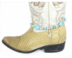 Turquoise Stone With Crystal Cross Shoe Boot Jewelry