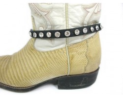 Black Leather Crystal Stud Boot Shoe Jewelry