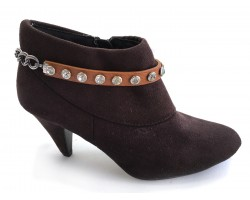 Brown Leather Crystal Stud Boot Shoe Jewelry