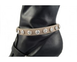 Grey Leather Crystal Stud Boot Shoe Jewelry